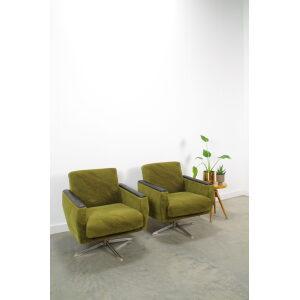 Vintage groene draai fauteuil met chromen onderstel, bar lounge stoel