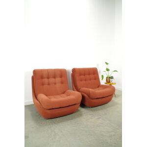 Vintage oud roze relax fauteuil, bar lounge stoel
