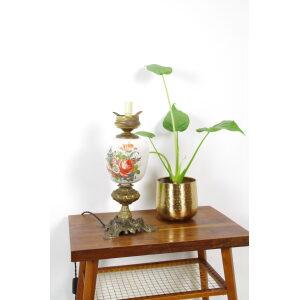 Vintage porseleinen lamp met bloemen en messing voet Rozen, tafellamp, schemerlamp