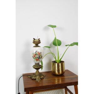 Vintage porseleinen lamp met bloemen en messing voet margriet, tafellamp, schemerlamp
