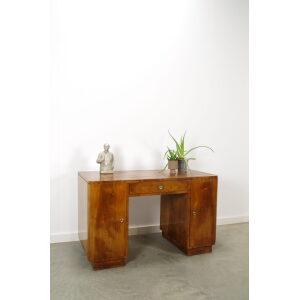 Vintage art deco bureau met noten fineer en lade, jaren 20