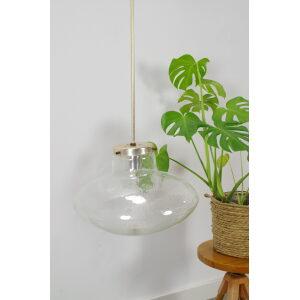 Vintage design hanglamp Kamenicky Senov met glas en messing details ufo