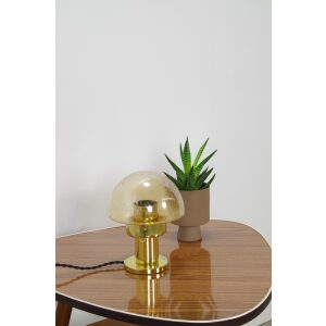 Vintage design tafellamp paddenstoel Kamenicky Senov met glas en messing, bureaulamp