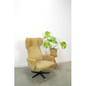 Vintage draai fauteuil beige ribstof, relax stoel