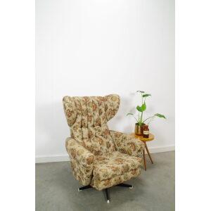 Vintage draai fauteuil bloemen, stoel met bloemenstof