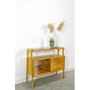 Vintage fineer kastje met klep en glazen blad, side table