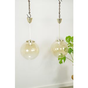 Vintage jaren 60 design hanglamp Kamenicky Senov glas met messing details