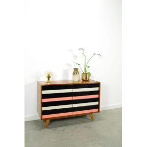 Vintage fineer design ladekast Jiri Jiroutek, U-453, dressoir zwart wit roze, sideboard